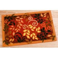 Cross stitch rug kit Autumn leaves