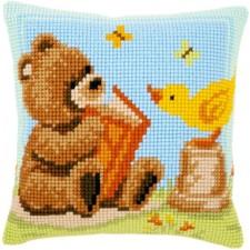(OP=OP) Cross stitch cushion kit Popcorn reading