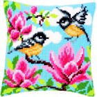 Cross stitch cushion kit Tits and magnolia