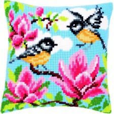 Cross stitch cushion kit Tits and magnolia