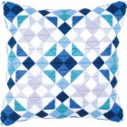 Long stitch cushion kit Triangles blue-grey