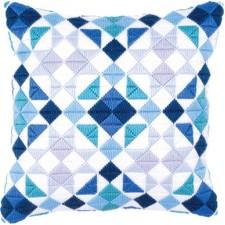 Long stitch cushion kit Triangles blue-grey