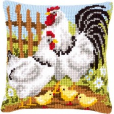 Cross stitch cushion kit Chicken family on a farm