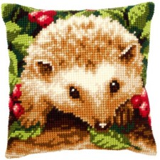 Cross stitch cushion kit Hedgehog with berries