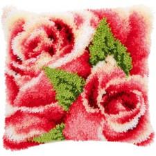 Latch hook cushion kit Pink rose and rosebud I