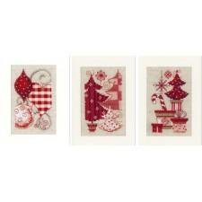 Set van 3 kerstkaarten kerstballen en kerstbomen