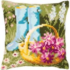 (OP=OP) Cross stitch cushion kit Garden rain boots