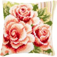 Cross stitch cushion kit Pink roses I