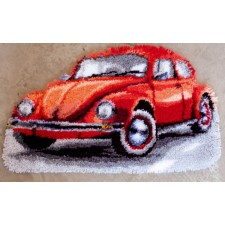 Latch hook shaped rug kit Red beetle
