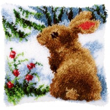 Latch hook cushion kit Rabbit in the snow