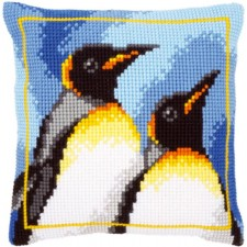 Cross stitch cushion kit King penguins
