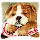 Latch hook cushion kit kit Sleeping bulldog