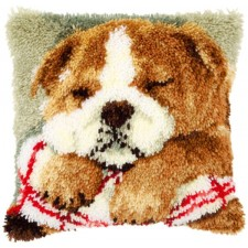 Latch hook cushion kit kit Sleeping bulldog
