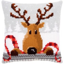 Cross stitch cushion kit Reindeer with a red scarf