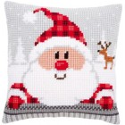 Cross stitch cushion kit Santa in a plaid hat