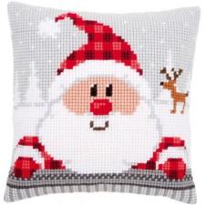 Cross stitch cushion kit Santa in a plaid hat