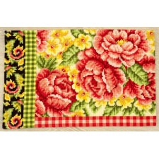 (OP=OP) Cross stitch rug kit Roses&swirls with plaid motif