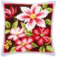 (OP=OP) Cross stitch cushion kit Pink clematis