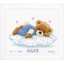 Counted cross stitch kit Snoozing teddy bear