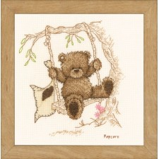 Counted cross stitch kit Popcorn bear swing