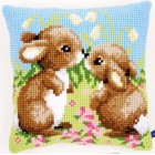 Cross stitch cushion kit Little rabbits