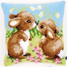 Cross stitch cushion kit Little rabbits