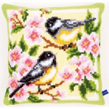 Cross stitch cushion kit Birds and blossoms