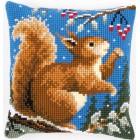 Cross stitch cushion kit Squirrel in winter