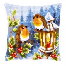 Cross stitch cushion kit Robins at the lantern
