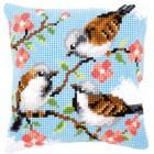 Cross stitch cushion kit Birds between flowers