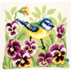 Cross stitch cushion kit Blue tit on pansies
