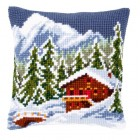 Cross stitch cushion kit Snow landscape