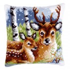 Cross stitch cushion kit Deer family