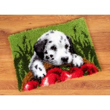 Latch hook rug kit Dalmatian with apples