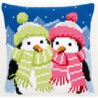 Cross stitch cushion kit Penguins with scarf