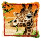 Latch hook cushion kit Giraffe eating leaves
