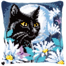Cross stitch cushion kit Cat in the night
