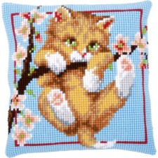 Cross stitch cushion kit Hanging around