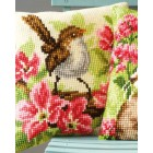 Cross stitch cushion kit Bird and pink flowers