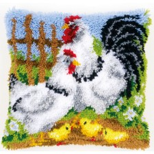 Latch hook cushion kit Chicken family on a farm