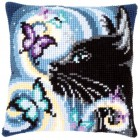 Cross stitch cushion kit Cat with butterflies