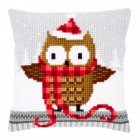 Cross stitch cushion kit Owl in santa hat