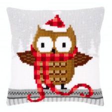 Cross stitch cushion kit Owl in santa hat