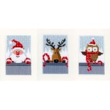 Wenskaarten Kerstfiguren I set van 3