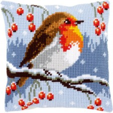 Cross stitch cushion kit Red robin in the winter