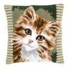 Cross stitch cushion kit Brown cat