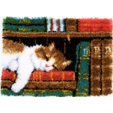 Latch hook rug kit Cat on bookshelf