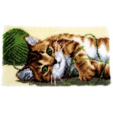 Latch hook rug kit Playful cat