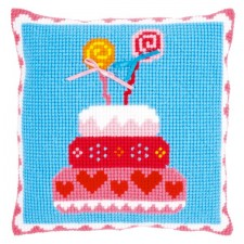 (OP=OP) Cross stitch cushion kit Birthday cake with bows