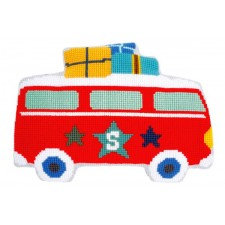 (OP=OP) Cross stitch shaped cushion kit Holiday by bus